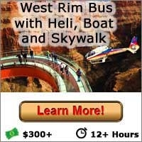 West Rim Bus Tour with Helicopter Boat Cruise and Skywalk